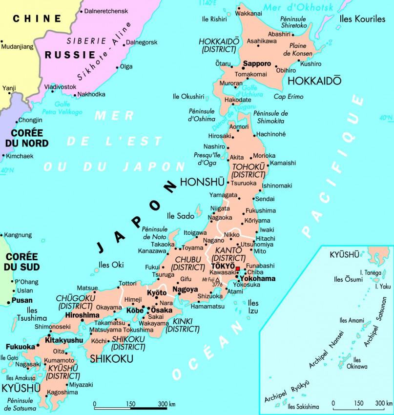 carte detaillee japon